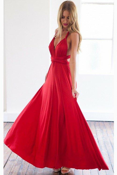 dd510084d8 Elegancka Długa Maxi Sukienka z Wiązaniem Czerwona Elegancka Długa Maxi  Sukienka z Wiązaniem Czerwona