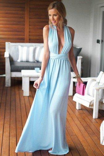 65e55f3d10 Elegancka Długa Maxi Sukienka z Wiązaniem Błękitna ...