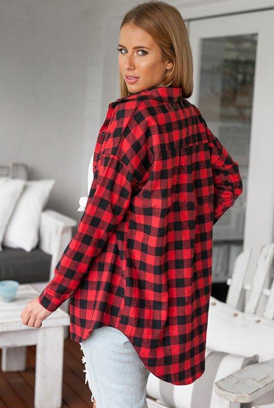 b9e3736ffe09db Flanelowa Koszula w Czerwoną Kratę typu Boyfriend | sklep MISSMIS.pl